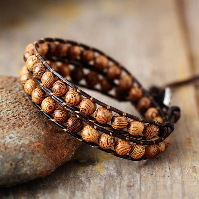 Wooden Bead Leather Boho Wrap Bracelet