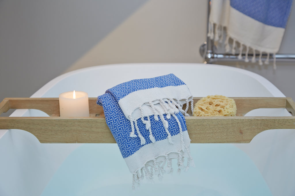 Organic cotton matching bath set in blue