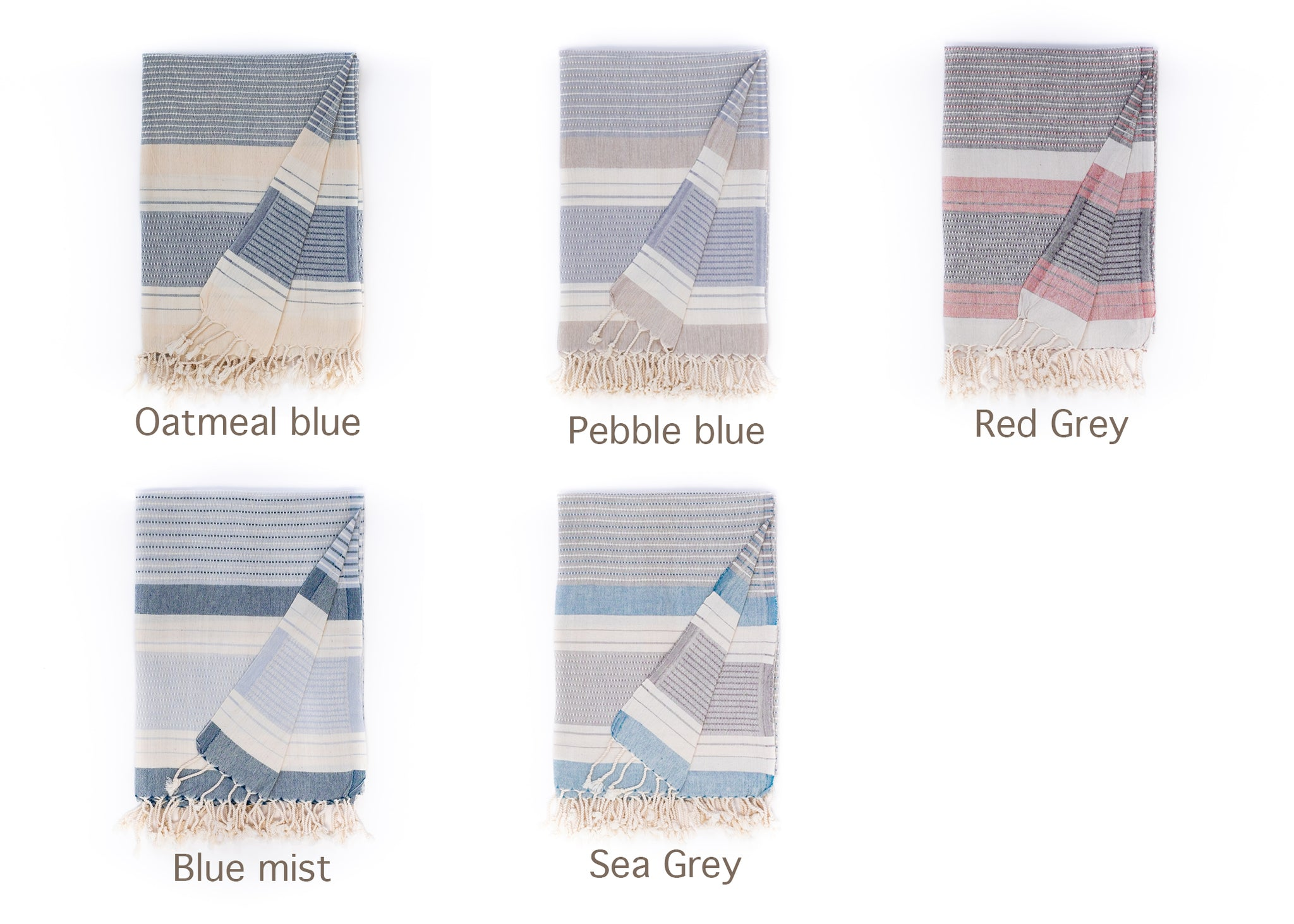 Hara organic cotton lightweight beach towel by Arc Lore in various colours with off white stripes.