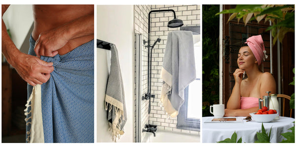 Arc Lore bath sheet in different situ: wrapped around a man coming out of the shower, a light grey matching bathset hanging in the bathroom, a woman in a pink matching bathset sipping coffee on the patio