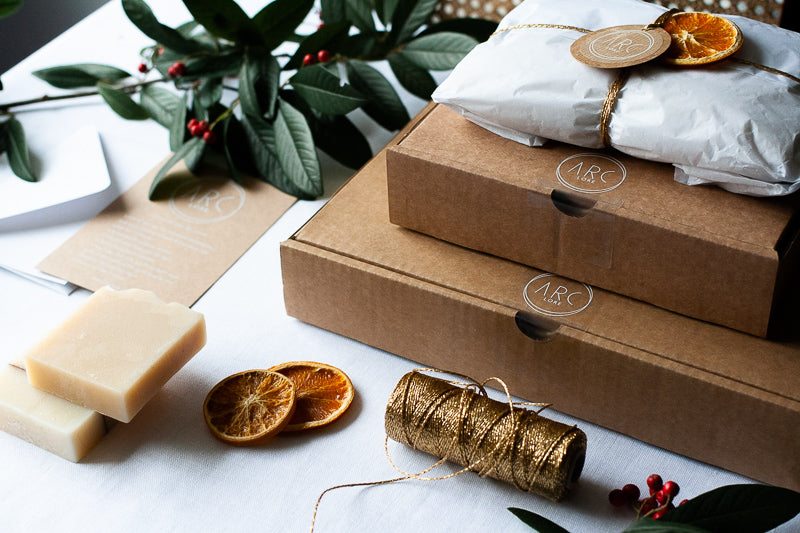 Eco friendly gift wrapping option displayed in beautifully wrapped packages from eco-friendly and sustainable packaging for Christmas