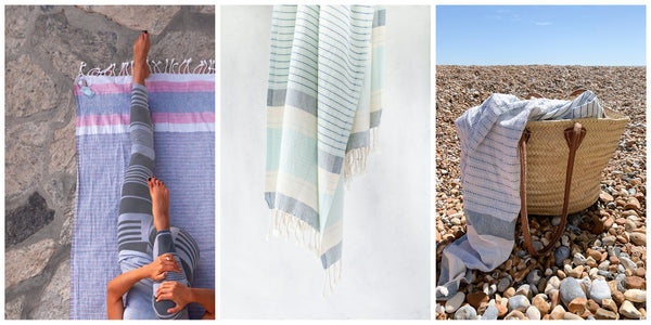 Hara organic towel used for yoga and outdoor swim. A still life hanging shot of the towel in detail.