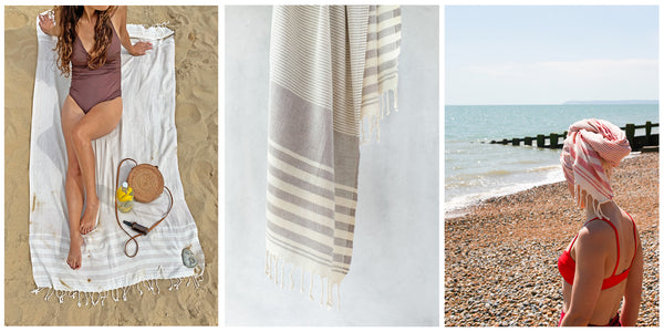 Mydo organic beach towels in situ on the beach, as a hair turban at the beach after a swim and a hanging still life