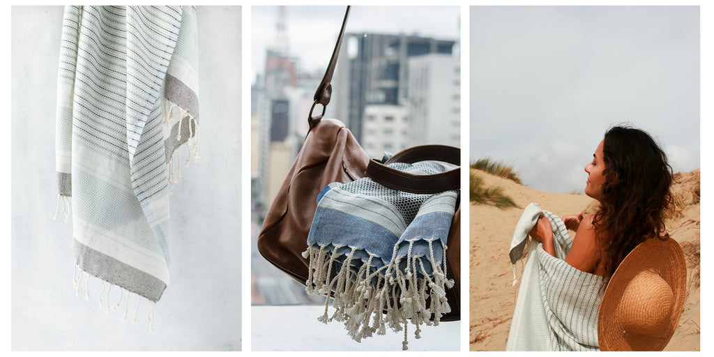 Yalo organic travel towel in different context of use: as a shawl, packed in luggage, and fully hanging