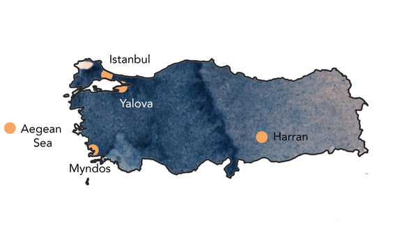 Map of Turkey showing places of origin for towels in our collection on the ancient silk roads