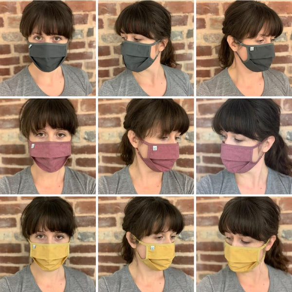 Ultra comfortable reusable and washable cotton face masks in three colours and two size options