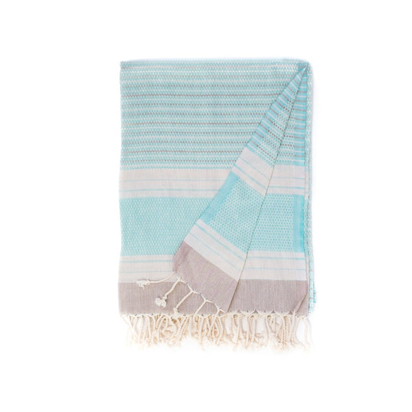 Arc Lore Hara organic cotton travel towel in the colour aquamarine with woven patterns and stripes