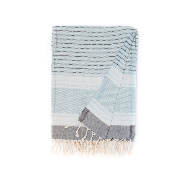 Arc Lore Hara organic cotton travel towel in the colour duckegg with woven patterns and stripes
