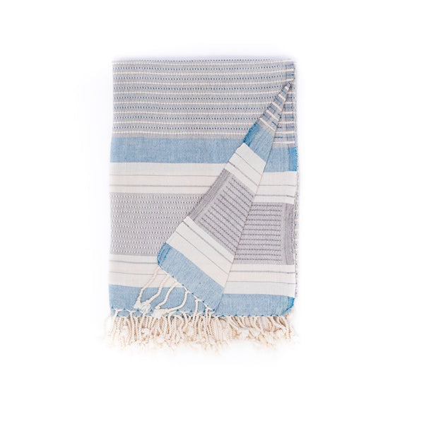 Arc Lore Hara organic cotton travel towel in the colour sea grey with woven patterns and stripes