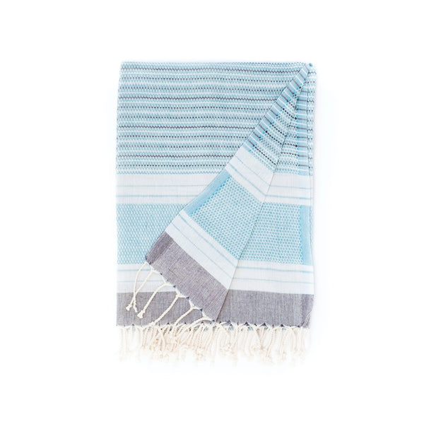 Arc Lore Hara organic cotton travel towel in the colour teal grey with woven patterns and stripes