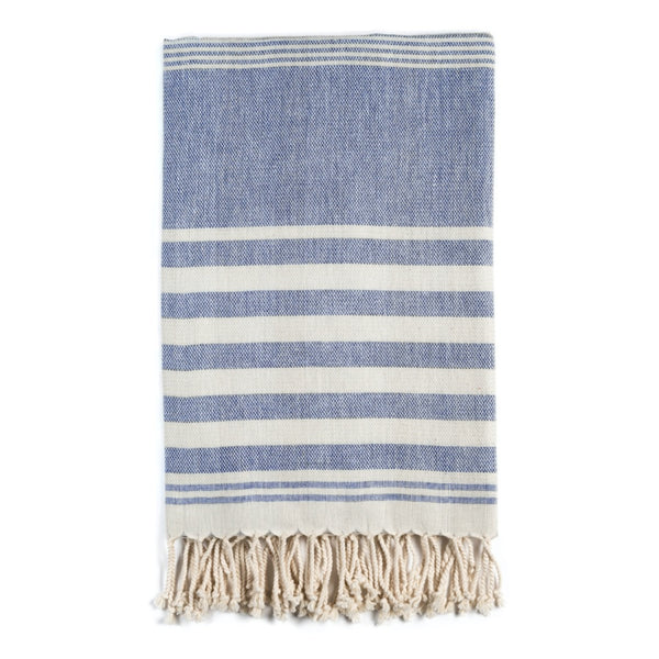 Arc Lore Mydo organic cotton beach towel in a navy colour with bold stripes