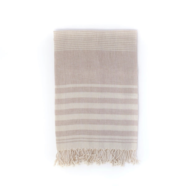 Arc Lore Mydo organic cotton beach towel in a pebble colour with bold stripes