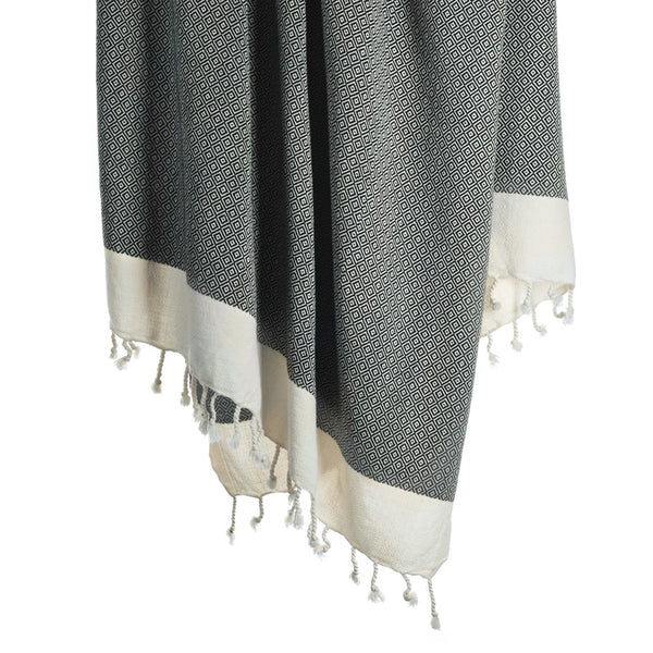 Arc Lore Samimi organic cotton bath towel in the colour black with woven diamond patterns