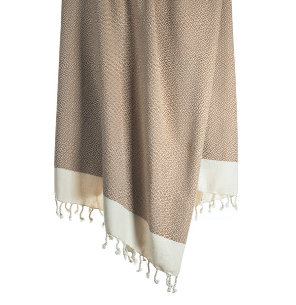Arc Lore Samimi organic cotton bath towel in the colour fawn with woven diamond patterns