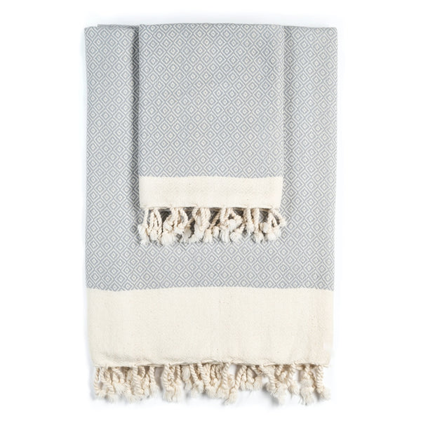 Arc Lore Samimi organic cotton bath towel set in the colour light grey with woven diamond patterns