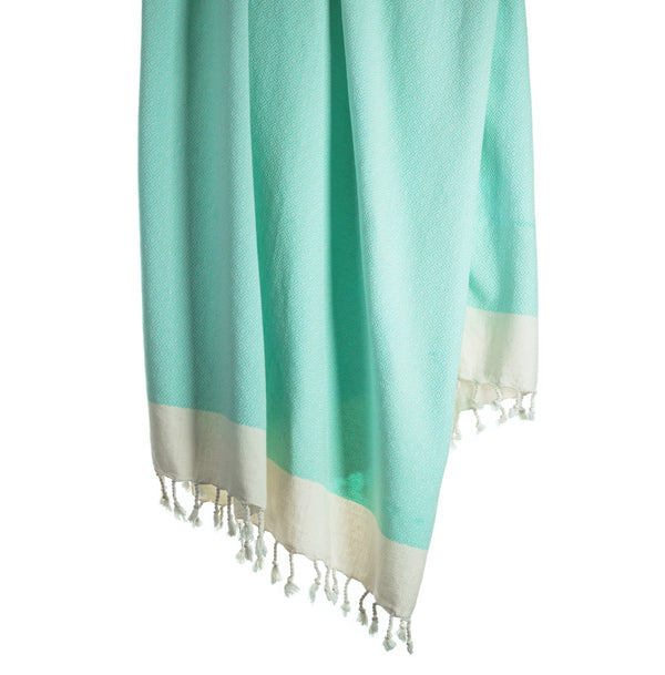 Arc Lore Samimi organic cotton bath towel in the colour mint with woven diamond patterns