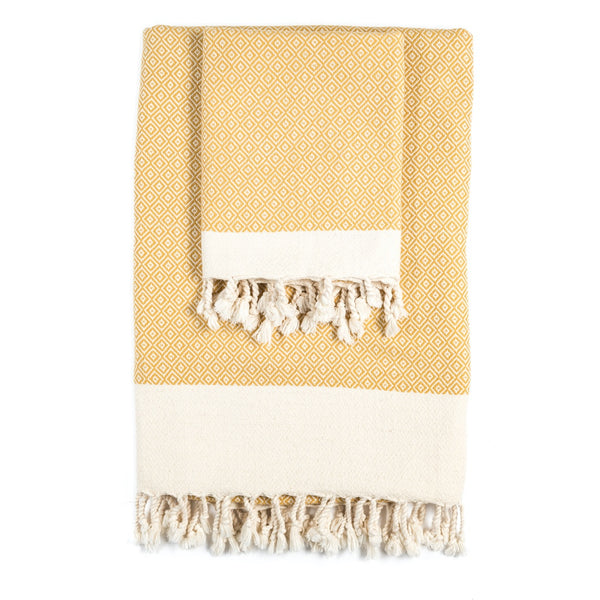 Arc Lore Samimi organic cotton bath towel set in the colour mustard with woven diamond patterns