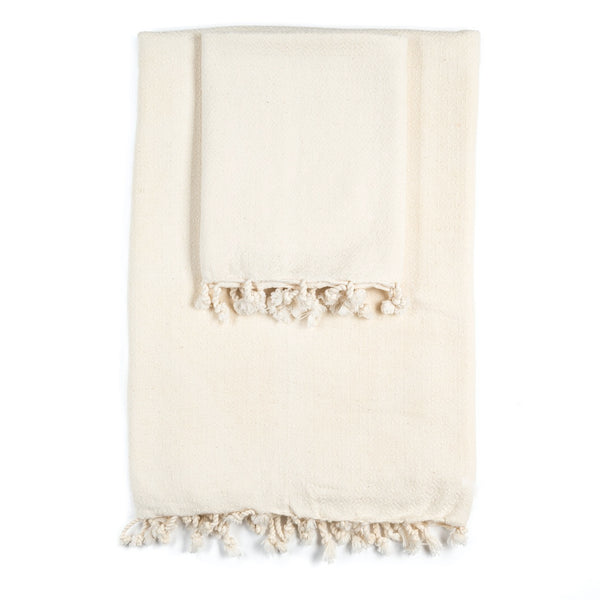 Arc Lore Samimi organic cotton bath towel set in the colour oatmeal with woven diamond patterns