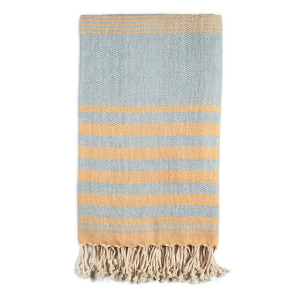 Mydo organic cotton beach towel by Arc Lore in yellow with sky blue stripes.