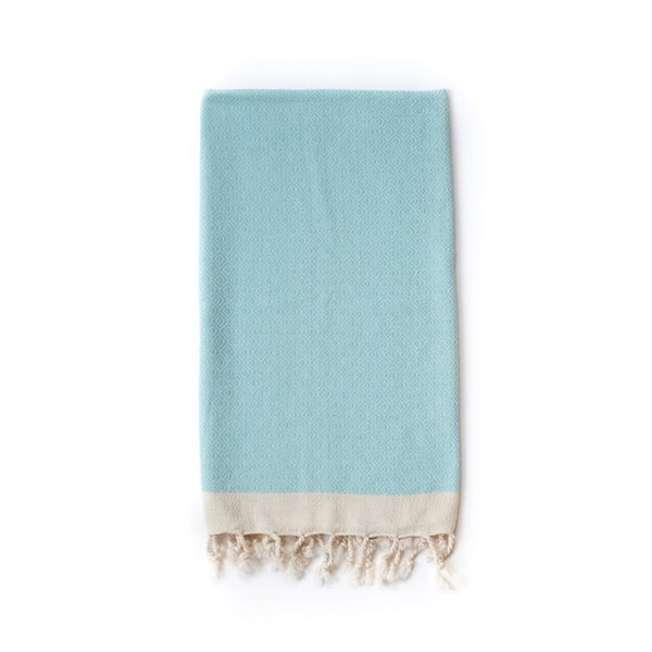 Arc Lore Samimi organic cotton hair towel in the colour sky blue with woven diamond patterns