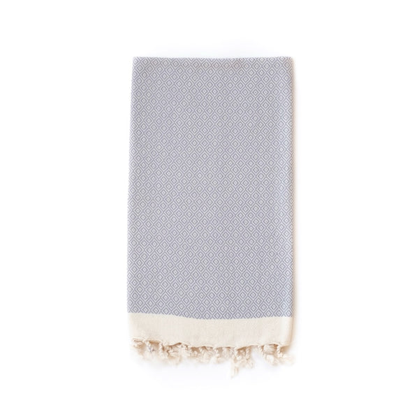 Arc Lore Samimi organic cotton hair towel in the colour light grey with woven diamond patterns