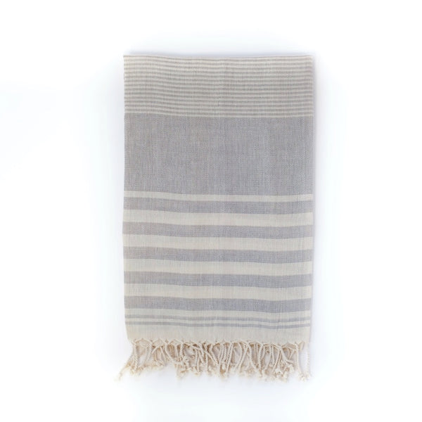 Arc Lore Mydo organic cotton beach towel in a mist colour with bold stripes.