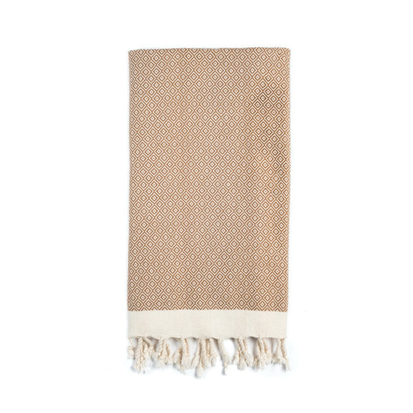 Arc Lore Samimi organic cotton hand towel in the colour fawn with woven diamond patterns