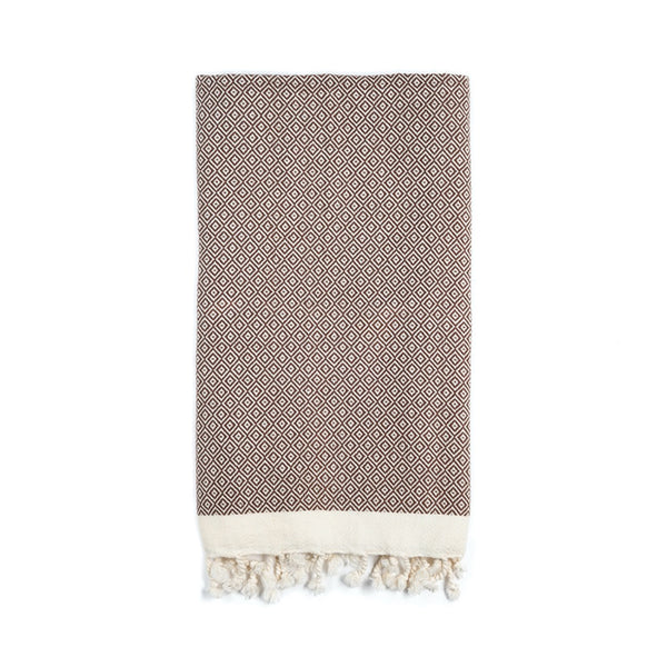 Arc Lore Samimi organic cotton hand towel in the colour hazelnut with woven diamond patterns