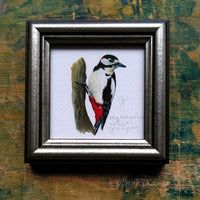 Nagy fakopáncs, keretezett mininyomat | Great-spotted woodpecker, Framed Mini Giclée Art Print
