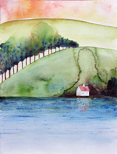 Tóparti ház, akvarell | House at the Lakeside, watercolor