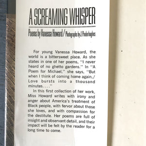 A Screaming Whisper Vanessa Howard 1972 First Edition