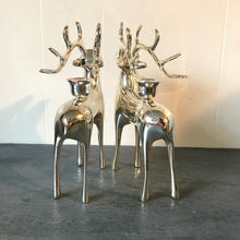 Silver Reindeer Candlestick Holders - Chrome Deer Decoration - Holiday Christmas Mantle