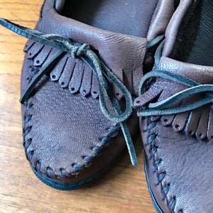 Brown Leather Minnetonka Moccasins - Women's Mocs - US 6.5 - Boho Festival Style