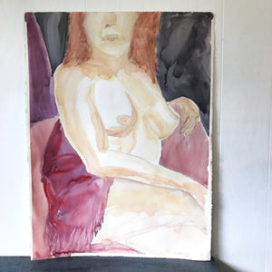Vintage Original Nude Women with Shawl Large Watercolor Painting