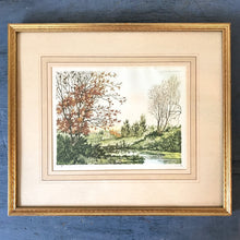 Antique Framed Hand Colored Autumn Landscape Etching - The Reservoir