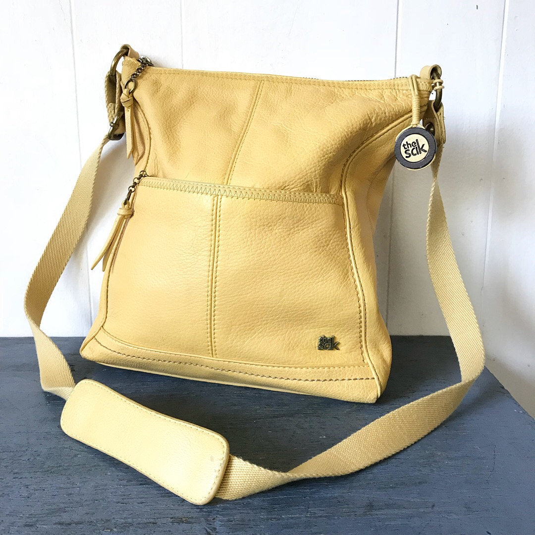 The Sak Iris Yellow Leather Crossbody Messenger Bag
