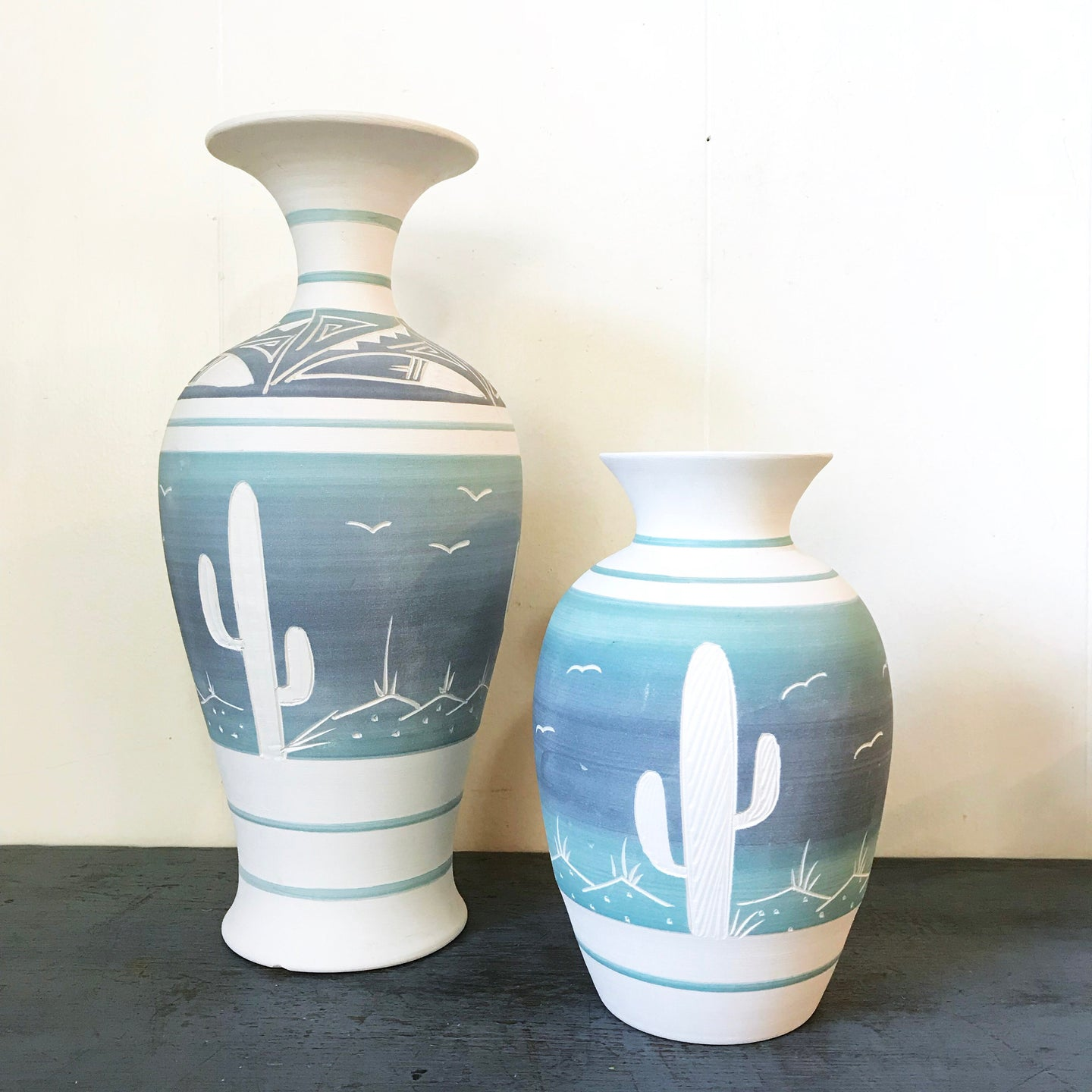 Vintage Pueblo Pottery Ombre Blue and White Vase