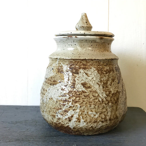 large drip glaze pottery jar with lid