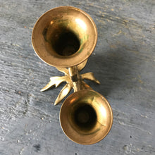Vintage Brass Swan Double Candlestick Holder