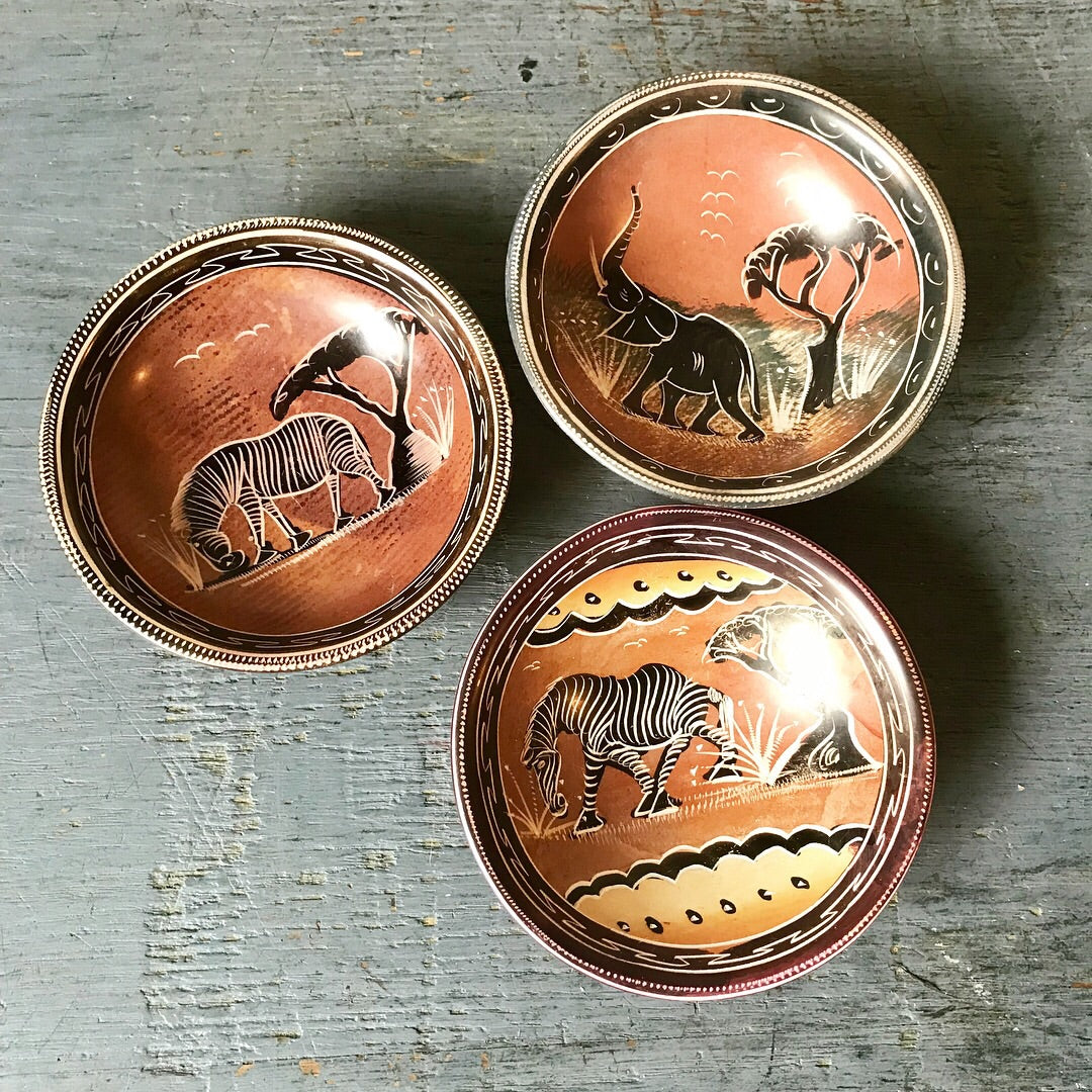Hand Painted Mini Bowls - Zebra and Elephant Dishes