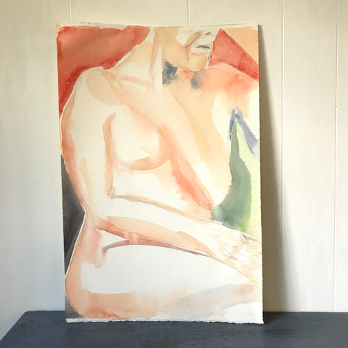 Vintage Original Watercolor Sitting Nude Woman Painting