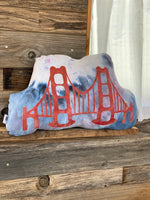 Hand Dyed Huggable SF Golden Gate Bridge Pillow