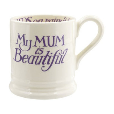 Emma Bridgewater Love & Wild Flowers Mum Is Beautiful Half Pint Mug