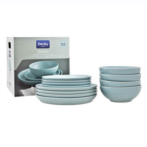 Denby Intro Pale Blue 12 Piece Tableware Set