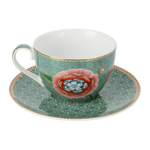 Pip Studio Spring to Life Cappuccino Cup and Saucer Green