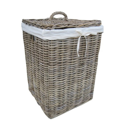 Grey Square Rattan Laundry Basket - Large