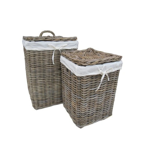 Grey Square Rattan Laundry Basket - Small