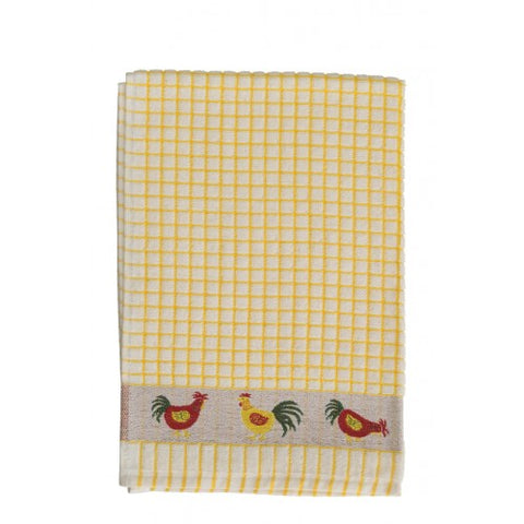 Yellow Check Chicken Tea Towel