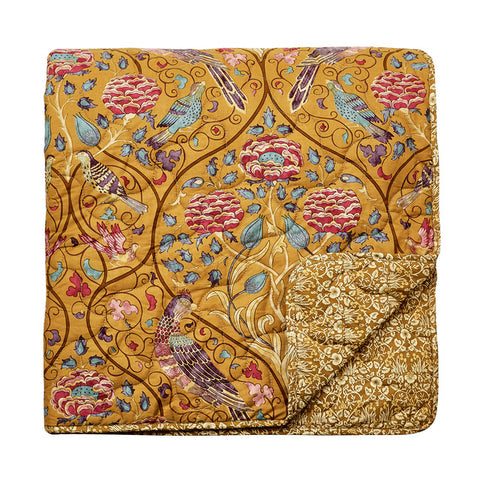 Morris & Co Seasons By May Saffron Quilted Throw