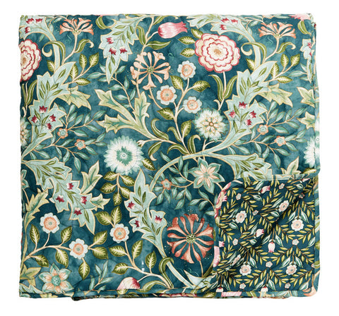 Morris & Co Wilhelmina Teal Quilted Throw